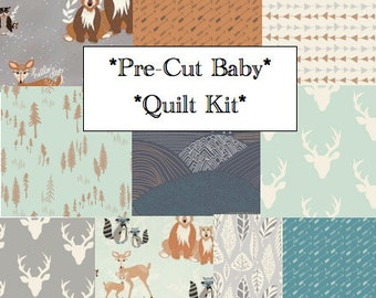 Baby Quilt Kit Hello Bear Modern Rustic Woodland Nursery Baby Bedding, Pre-cut Quilting Squares, Art Gallery Fabrics, Deer, Bear, Fox, DIY