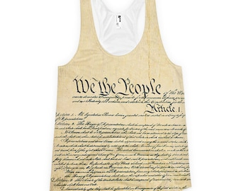 We the People US Constitution Ladies All–Over Racerback Tank Top (Made in the USA)