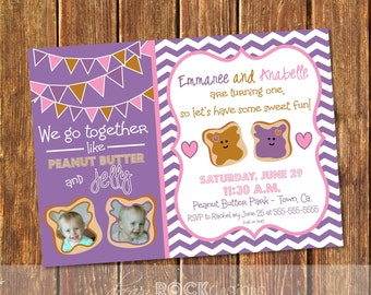 We Go Together Like Peanut Butter & Jelly - PBJ Invitation - Twins Birthday Invite