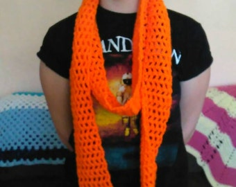 Bright Orange Infinity Scarf! Long and Lightweight!