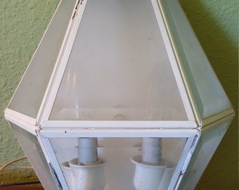 Vintage Outdoor Light Fixture Lantern Cast Aluminum w Glass Panels! Shabby Chic Pretty Hexagon w Solid Finial - Easy to Install!