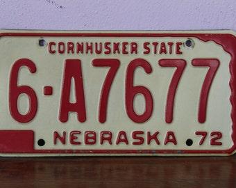 Nebraska 1972 license plate