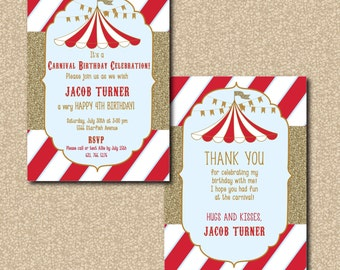 Adorable Carnival Birthday Invitation with Matching Thank you Note/Digital file or printed/wording can be changed