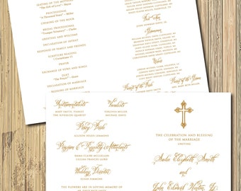 Custom Wedding Program/DIGITAL FILE/unfolded size 11 x 8.5/folded to 5.5 x 8.5/wording and ink color can be changed