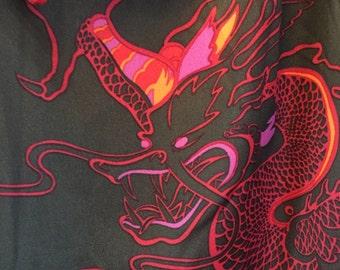 Vintage Asian Dragon Woman's Polyester Blouse size 16