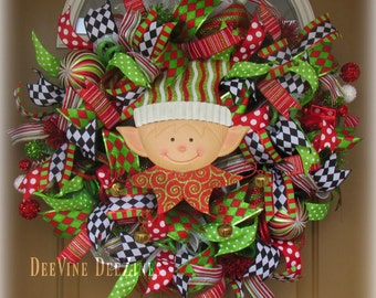 Christmas Elf Mesh Wreath, Christmas Deco Mesh Wreath, Xmas Mesh Wreath, Deco Mesh Wreath, Christmas Wreath