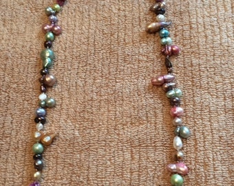 Funky Multi Colored Fresh Water Pearl Necklace