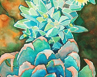 Succulent Garden Art Print/ Botanical Watercolor Limited Edition Giclee
