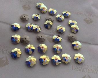 Swarovski #3700 Crystal AB Daisy Margarita Flower Silver Foiled Sew- On Stones Beads 8mm 10mm 12mm