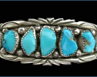 Vintage Old Pawn Navajo Silver and Turquoise Bracelet Cuff Signed R.T. ( Ray Tafoya )