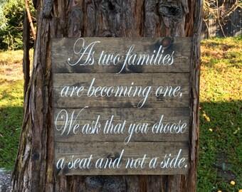 Rustic Wedding Decor,Wedding Sign,Rustic Decor,Rustic Sign,Wedding Decor,Bridal Shower,Farmhouse Wedding Decor,Pick A Seat,Not A Side,Wood