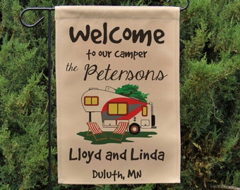 Ready to Ship, Welcome to our Camper Personalized Camping Sign or Wall Hanging, RV Gift, Fifth Wheel Yard Flag, Stand not included EYF-015