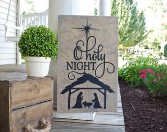 O Holy night wood sign.  Christmas decor, Christmas wood sign, O Holy Night, Christmas, nativity scene, nativity sign, religious christmas.