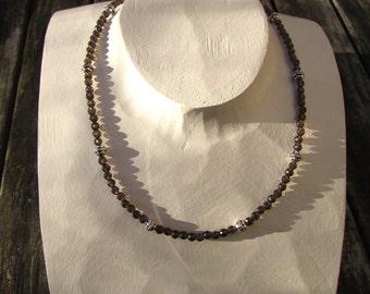 gemstone necklace with smokey quartz sterling bali silver 925