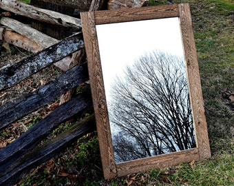 Reclaimed Wood Framed Mirror - Mirrors - Framed Mirrors - Wood Mirror - Rustic Mirror - Bathroom Mirror - Large Mirror - Wall Mirror