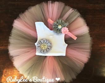 Pink& GreyTutu Set