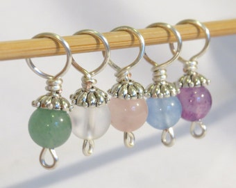 Set of 5 semi-precious stone knitting stitch markers.  Crystal set.
