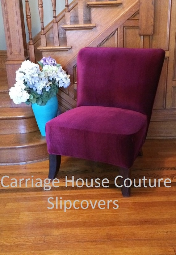 Slipcover Cranberry Velvet Stretch Chair Cover For Armless