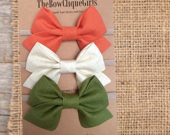 Fall/Autumn Collection Set. Hair bows for girls, Olive green, cream color bows, orange bows, baby bows, headbands, hair clips, sailor bows
