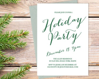 Calligraphy Holiday Party Invitation DIY / Christmas, Festive Elegant Calligraphy Type / Green Type ▷ Printable Invite