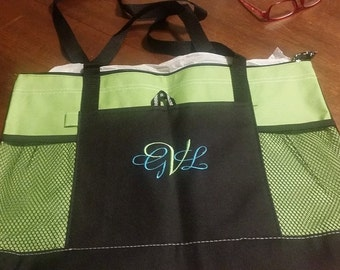 Monogrammed Canvas  zippered Tote