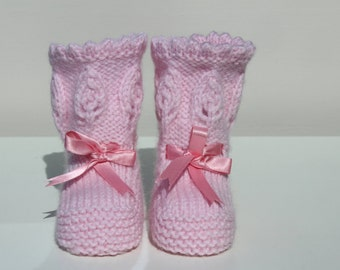 Baby Girl Booties, Pink Crib Shoes, Pink Booties, New Baby Gift, Baby Shower Gift, Hand Knit Booties, Lacy Booties, Baby Shoes, Christening