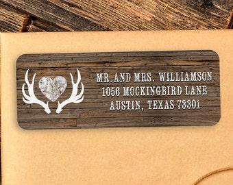 Custom address label, Return address label, Self-adhesive address label, Address stickers, Deer Antler, Return Labels, Rustic Return Labels