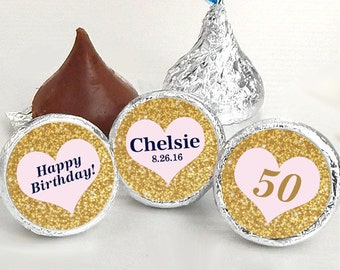 108 Hershey Kiss® Stickers, Gold Heart Hershey Kiss Stickers Birthday, Personalized Kiss Labels, Wedding Favors, Name, Date. Kiss Seals