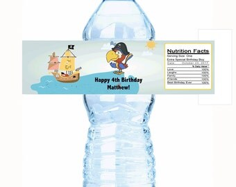 """20 Pirate's Themed Birthday Water Bottle Labels - Select the quantity you need below in the """"Pricing & Quantity"""" option tab"""