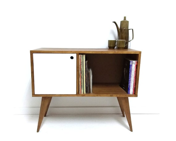 vinyl record storage mid century modern sideboard media. Black Bedroom Furniture Sets. Home Design Ideas