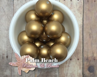 Eight (8) pcs Chunky 25mm Bubblegum Acrylic Matte Pearl Beads GOLD -8 pcs