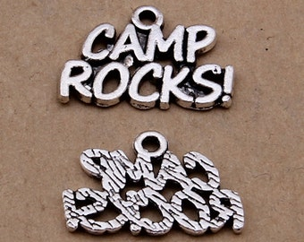 20PCS/Bulk Sale,Antique Silver CAMP ROCKS Charm Pendant --- Tibetan Silver Tone, Vintage Jewelry Supply ---- 20mmX14mm, CC530-2902