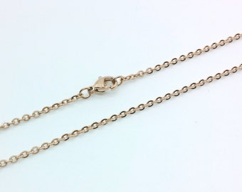 "1 PC/Bulk, 2mm Rose Gold Plated Staineless Steel Necklace Chain, Ready to Use, Jewelry Supplies, Length 18""/20"""