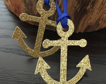 12 Nautical themed favour tag .. gold anchor favor tags ... baby shower tag .. nautical birthday party