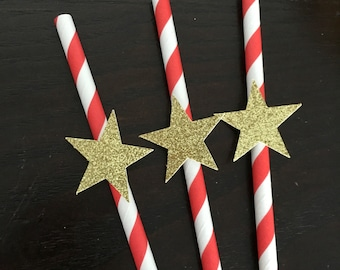 12 red and white paper straws .. christmas straws .. holiday straw .. paper straw