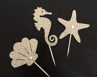 Mixed under the sea themed cupcake toppers .. little mermaid themed cupcake toppers .. seahorse/starfish/seashell