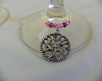 Set of 4 Tree of Life Wine Glass Charms