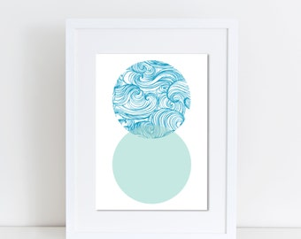 Ocean Circles, Print, Poster, Instant Download, Teal, Waves, Abstract