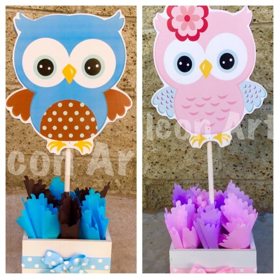 Owl baby shower centerpiece for guest table owl for Baby owl decoration
