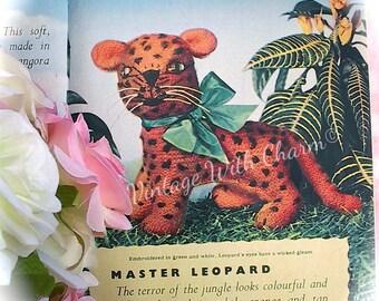 Vintage Copy Of 1950s Toy Knitting Pattern Cuddly 'Leopard'