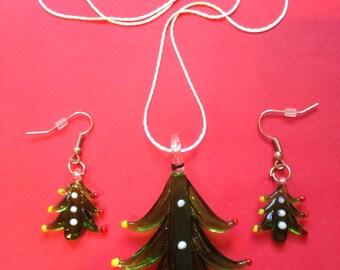 Xmas Tree Lampwork Christmas Necklace & Earring Set