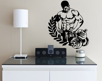 Wall Decal Room Sticker gym fitness bodybuilding crossfit body muscle man bo2982