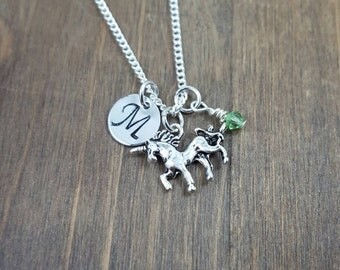 Personalized Unicorn Necklace - Hand stamped Monogram Unicorn Necklace - Initial, Birthstone Necklace - Party Favors