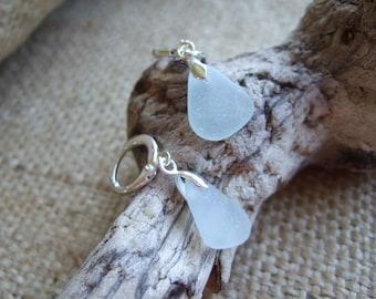 TEARDROPS...Scottish sea foam sea glass sterling silver earrings, sterling silver hoops and Scottish sea glass earrings, teardrop earrings