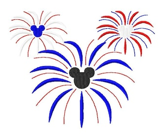Character Patriotic Firework Burst Embroidery Design