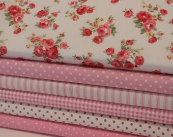 Pink Coordinating Fat Quarter Bundle, 100% Cotton - Quilting and Patchwork Fabric