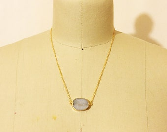 Natural Agate Druzy Geode Necklace 18K GF