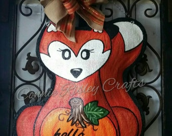 Woodland Fox with Pumpkin Hand Painted Burlap Door Hanger and Welcome Wreath
