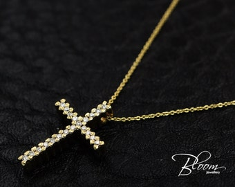 Diamond Cross Pendant Yellow Gold Cross on Delicate Chain Cross Necklace 18K Solid Gold Cross Pendant Yellow Gold Diamond Cross Necklace