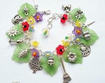 Witches Garden Charm Bracelet, Wiccan Charm Bracelet, Wicca Jewellery, Flower Bracelet, Cauldron, Book of Spells, Hawthorn Blossom, Thistle